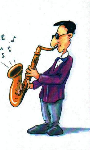Tröte, saxophon, musik: cartoonbörse hat´s!
