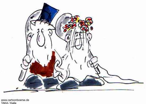 Bild Hochzeitszeitung Braut Bräutigam lustig